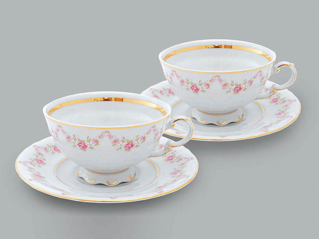 Фото Набор из двух чайных пар 200 мл, Форма Соната Розовый бордюр
