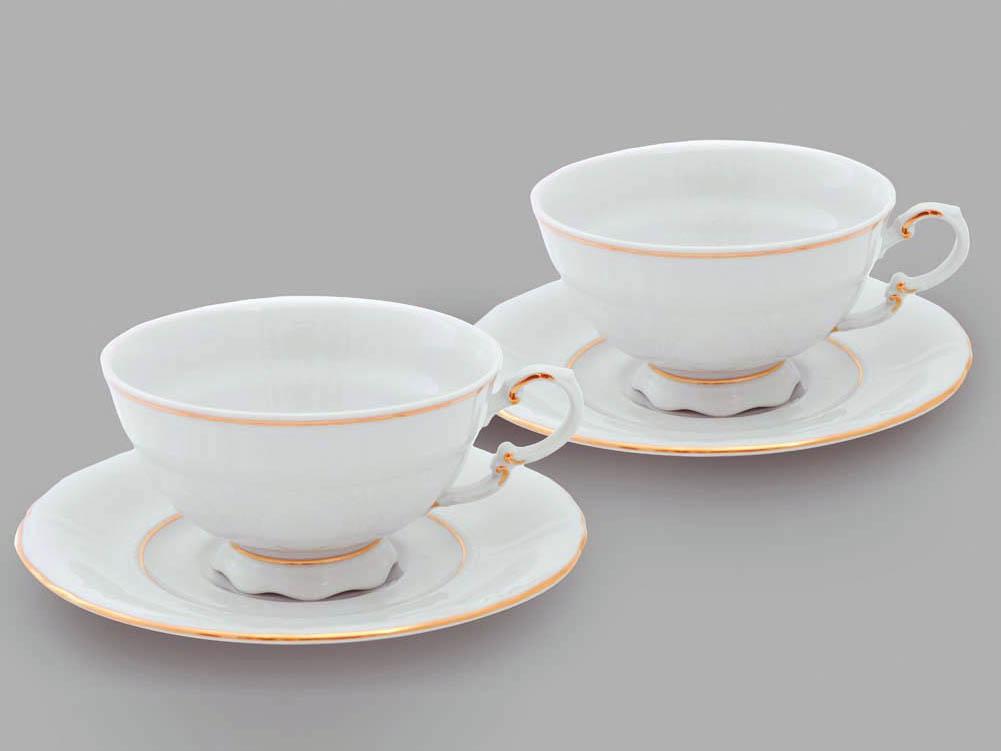 Фото Набор из двух чайных пар 200 мл, Форма Соната Золотой контур