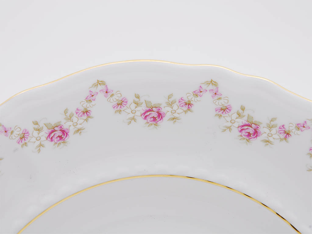 Фото Набор тарелок мелких 25 см, 6 шт, Форма Соната Розовый бордюр