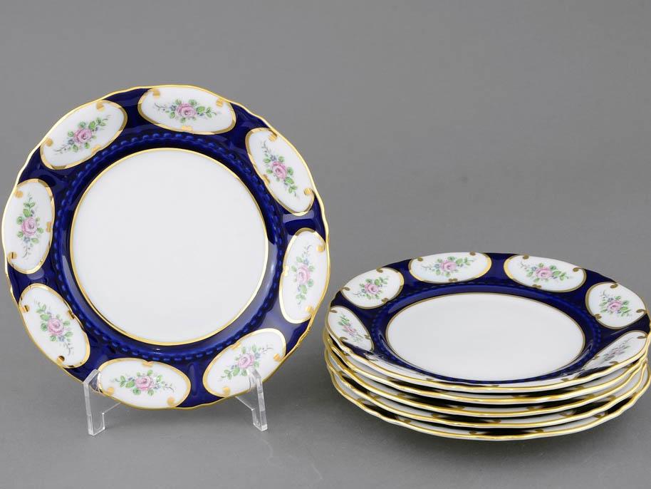 Фото Набор тарелок мелких 25 см, 6 шт, Форма Соната Саксонская роза кобальт