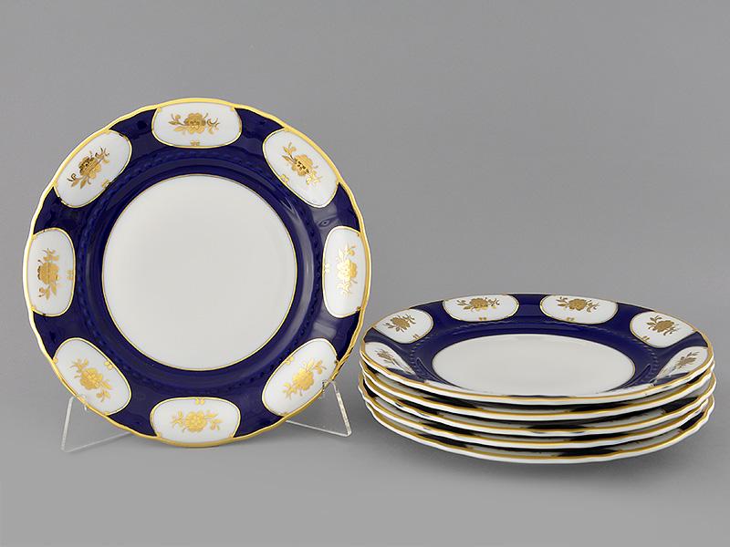 Фото Набор тарелок мелких 25 см, 6 шт, Форма Соната Элизабет кобальт