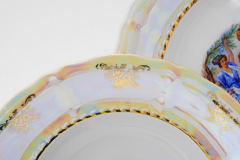 Фото Набор тарелок мелких 25 см, 6 шт, Форма Соната Мадонна перламутр