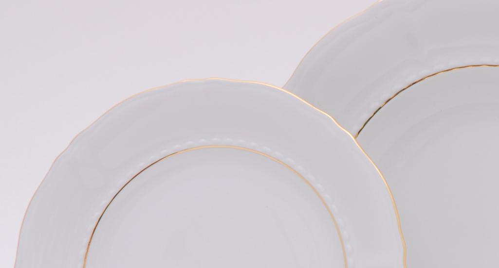 Фото Набор тарелок мелких 25 см, 6 шт, Форма Соната Золотой контур