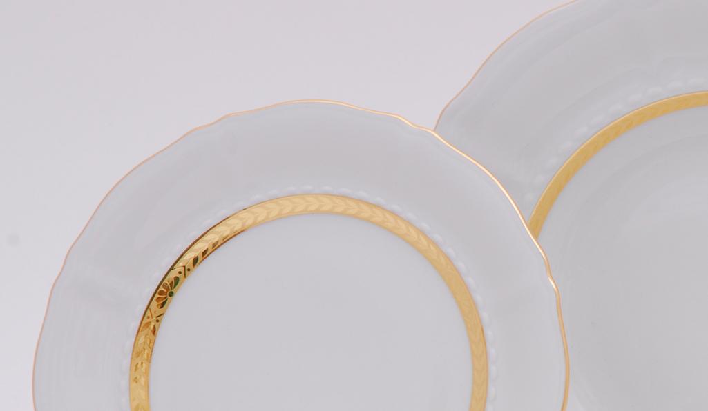Фото Набор тарелок мелких 25 см, 6 шт, Форма Соната Белиссима золото