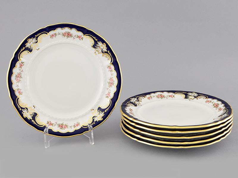 Фото Набор тарелок мелких 25 см, 6 шт, Форма Соната Виноград и роза кобальт