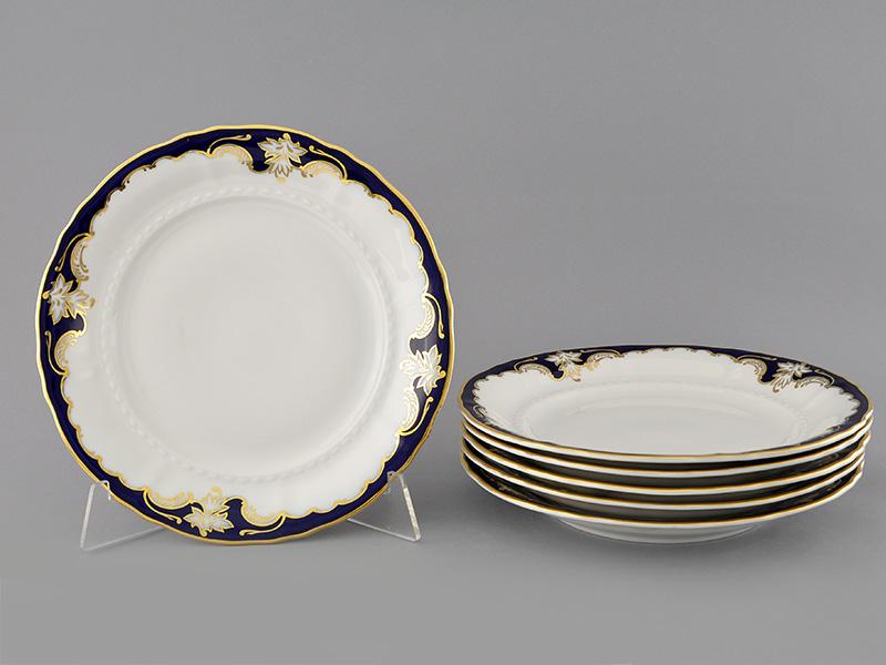 Фото Набор тарелок мелких 25 см, 6 шт, Форма Соната Виноград кобальт