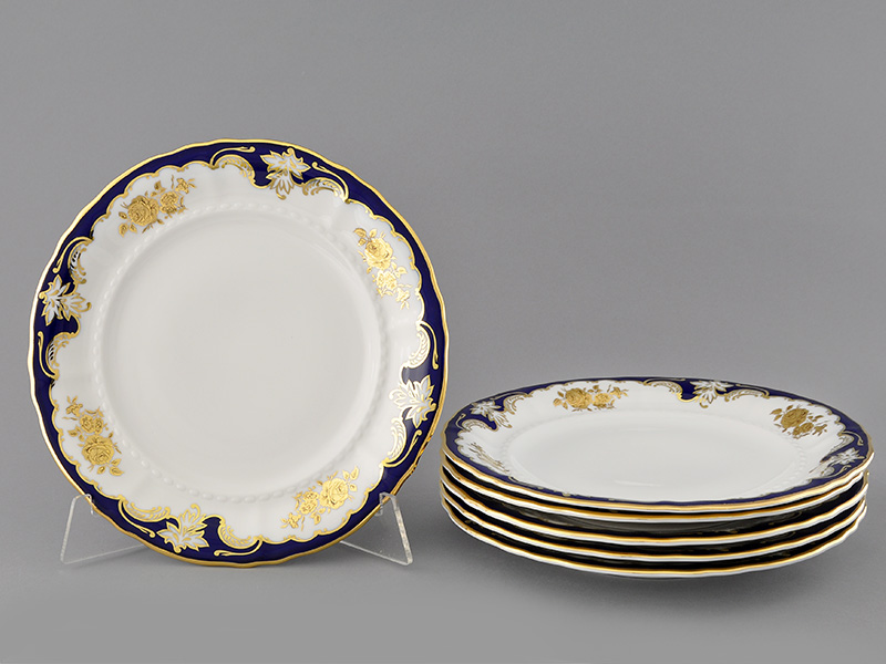 Фото Набор тарелок мелких 25 см, 6 шт, Форма Соната Виноград и золотая роза кобальт