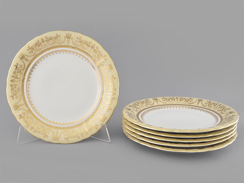 Фото Набор тарелок мелких 25 см, 6 шт, Форма Соната Золотой орнамент