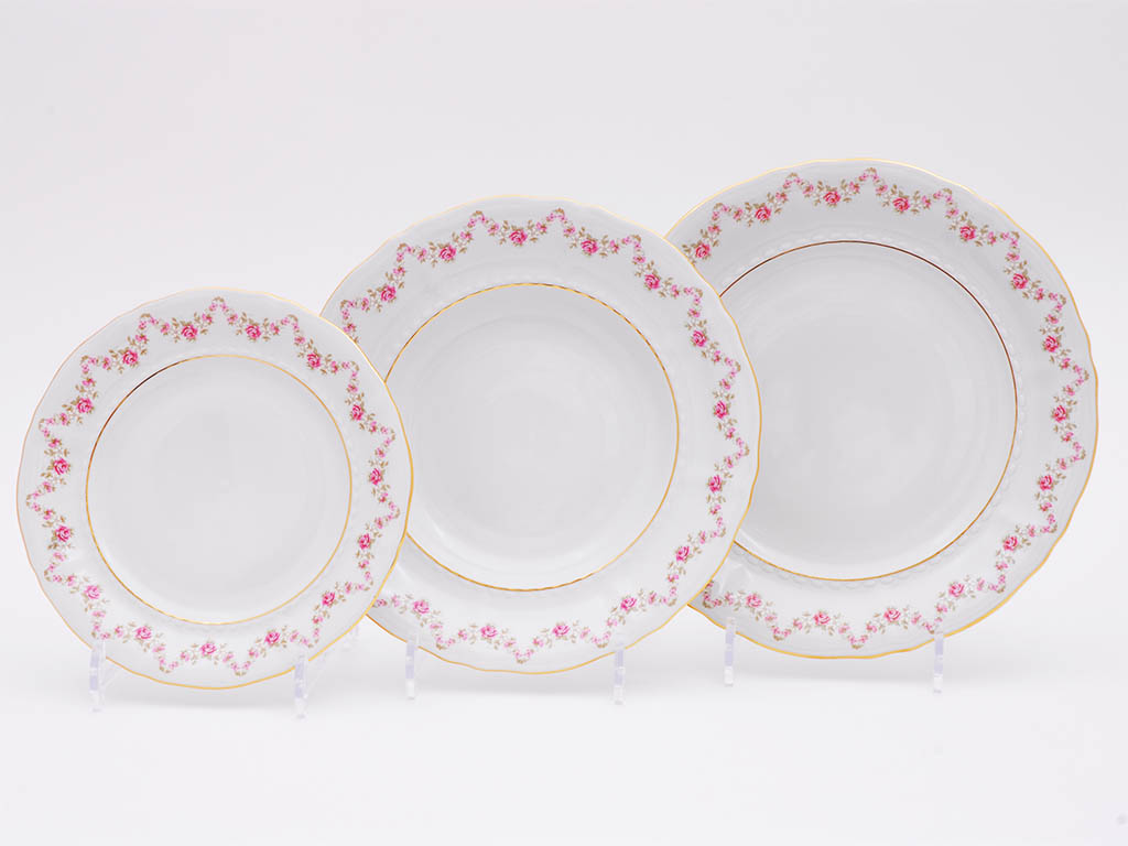 Фото Набор тарелок 18 предметов на 6 персон, Форма Соната Розовый бордюр