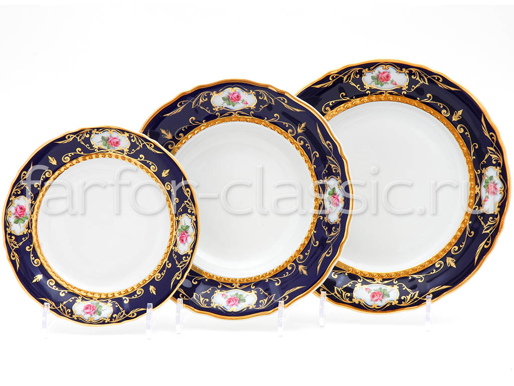 Фото Набор тарелок 18 предметов на 6 персон, Форма Соната Помпадур кобальт