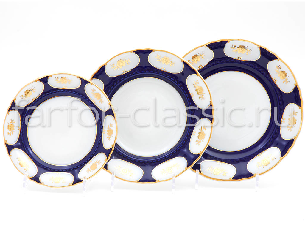 Фото Набор тарелок 18 предметов на 6 персон, Форма Соната Элизабет кобальт