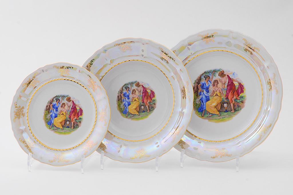 Фото Набор тарелок 18 предметов на 6 персон, Форма Соната Мадонна перламутр
