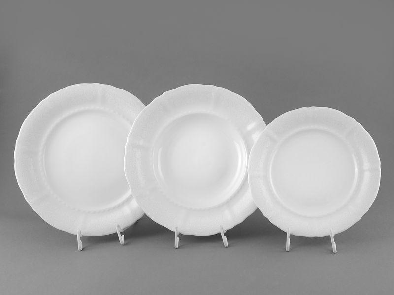 Фото Набор тарелок 18 предметов с десертной тарелкой 19 см Форма Соната Белый орнамент