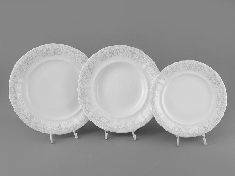 Фото Набор тарелок 18 предметов с десертной тарелкой 19 см Форма Соната Серый орнамент