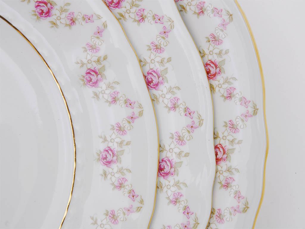Фото Набор тарелок глубоких 23 см, 6 шт, Форма Соната Розовый бордюр
