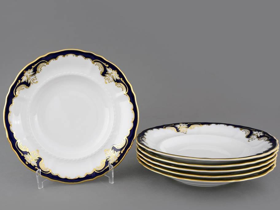 Фото Набор тарелок глубоких 23 см, 6 шт, Форма Соната Виноград кобальт