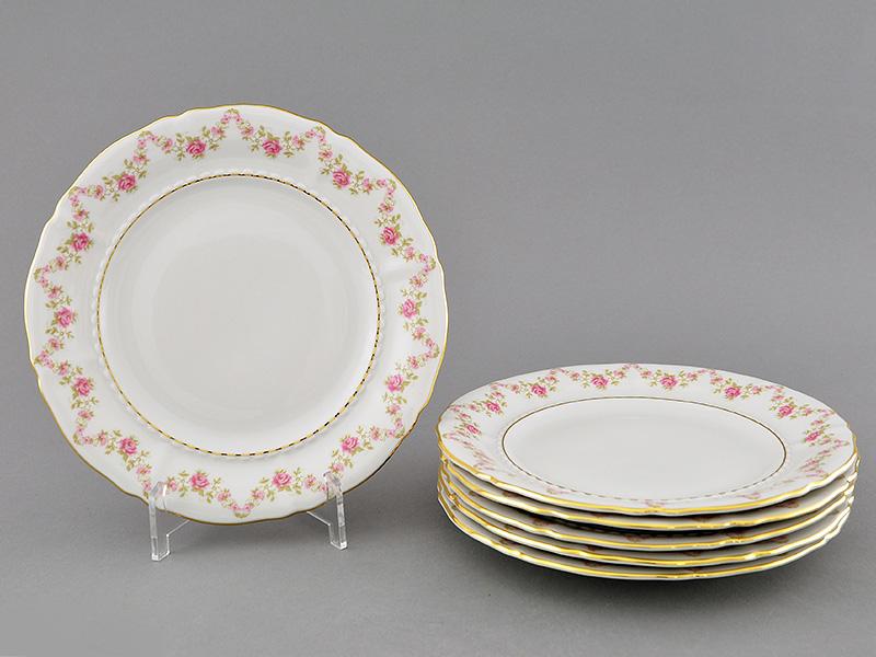 Фото Набор тарелок десертных 17 см, 6 шт, Форма Соната Розовый бордюр