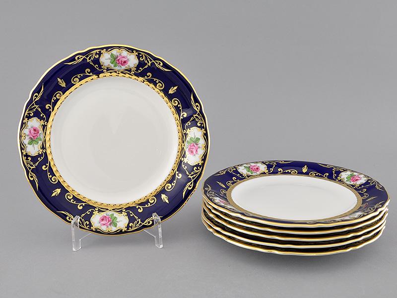 Фото Набор тарелок десертных 19 см, 6 шт, Форма Соната Помпадур кобальт