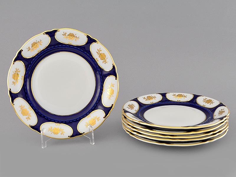Фото Набор тарелок десертных 19 см, 6 шт, Форма Соната Элизабет кобальт