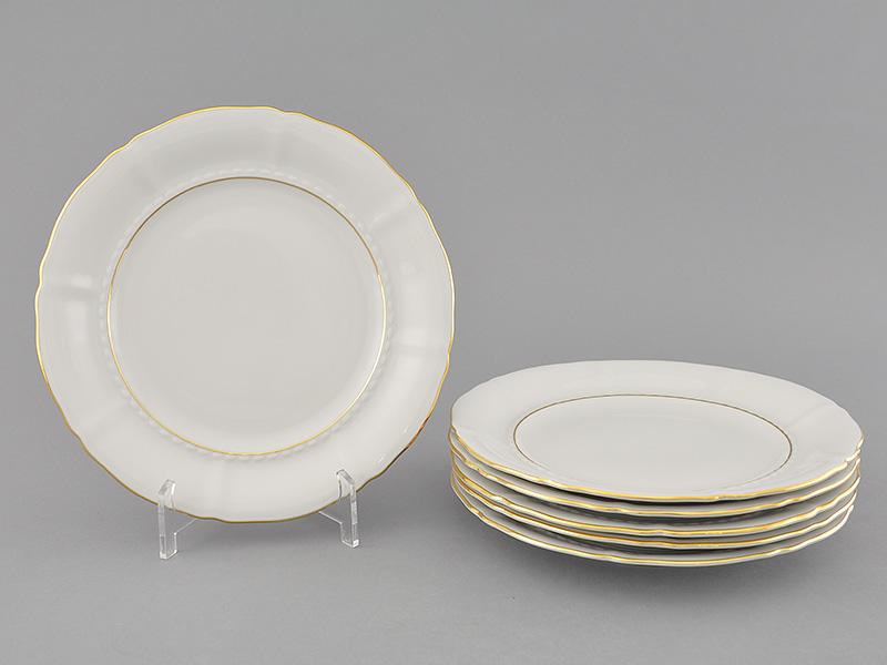 Фото Набор тарелок десертных 19 см, 6 шт, Форма Соната Золотой контур