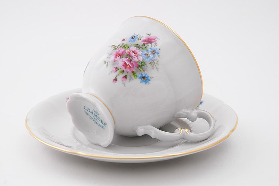 Фото Набор чашек высоких с блюдцем 150 мл, 6 шт Форма Соната Полевые цветы