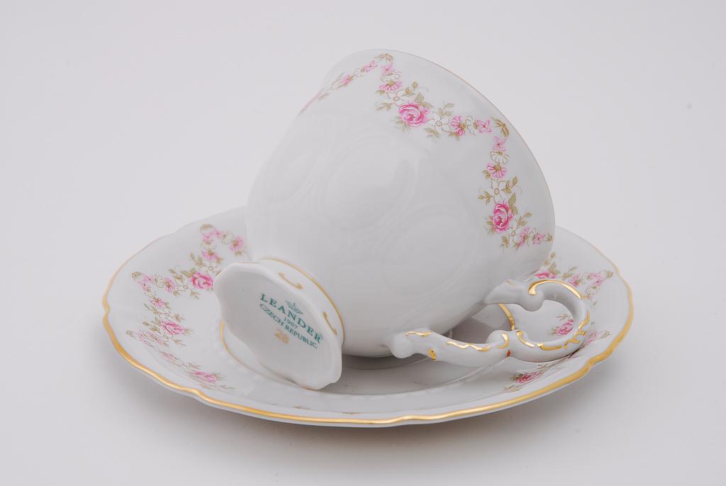Фото Набор чашек кофейных с блюдцем 150 мл, 6 шт Форма Соната Розовый бордюр