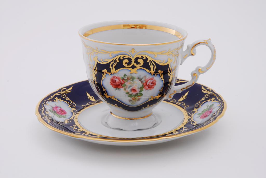 Фото Набор чашек кофейных с блюдцем 150 мл, 6 шт Форма Соната Помпадур кобальт