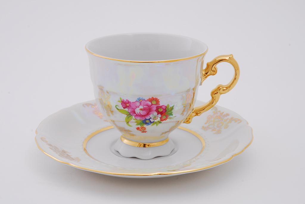 Фото Набор чашек кофейных с блюдцем 150 мл, 6 шт Форма Соната Летний букет перламутр