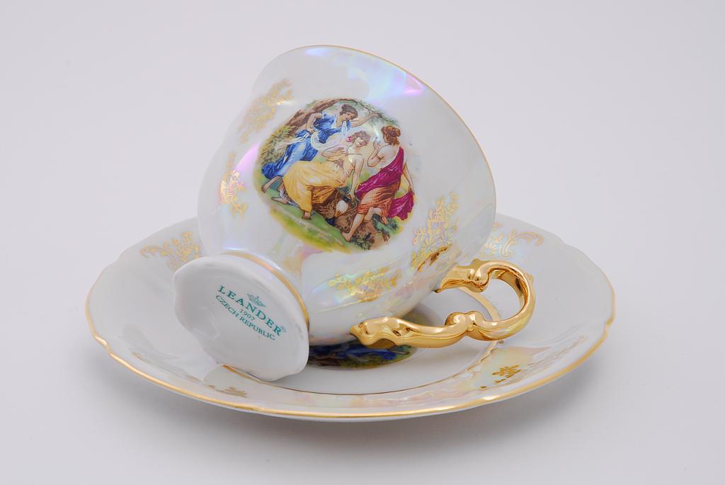 Фото Набор чашек кофейных с блюдцем 150 мл, 6 шт Форма Соната Мадонна перламутр