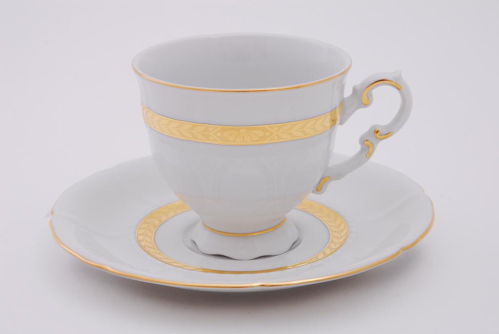 Фото Набор чашек высоких с блюдцем 150 мл, 6 шт Форма Соната Белиссима золото