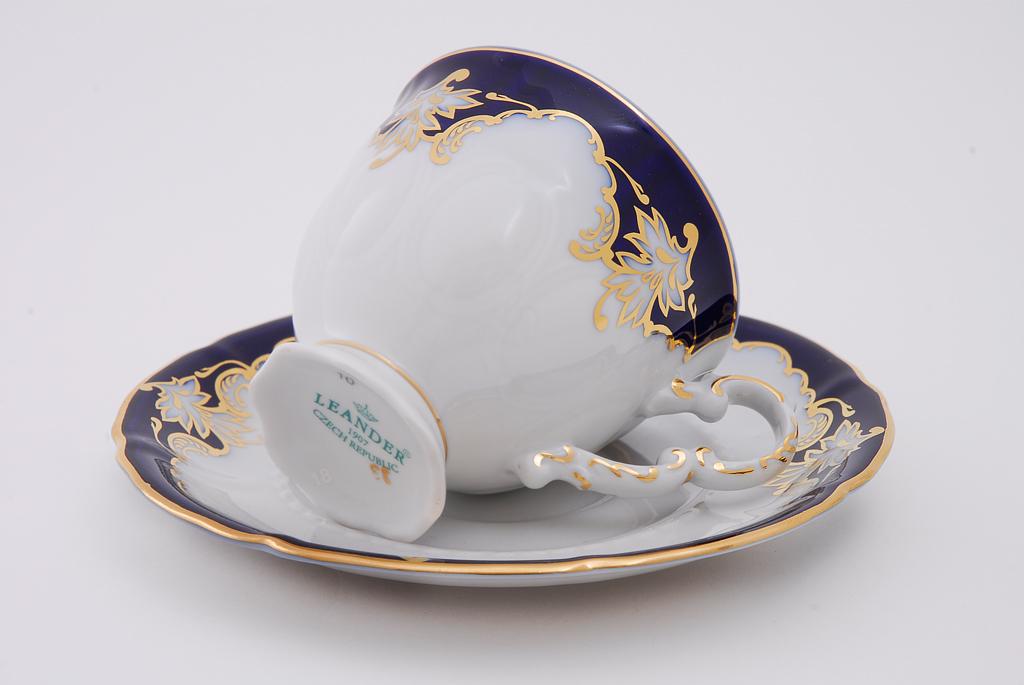 Фото Набор чашек кофейных с блюдцем 150 мл, 6 шт Форма Соната Виноград кобальт