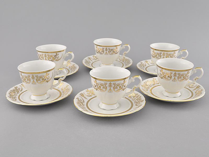Фото Набор чашек кофейных с блюдцем 150 мл, 6 шт Форма Соната Королевский золотой