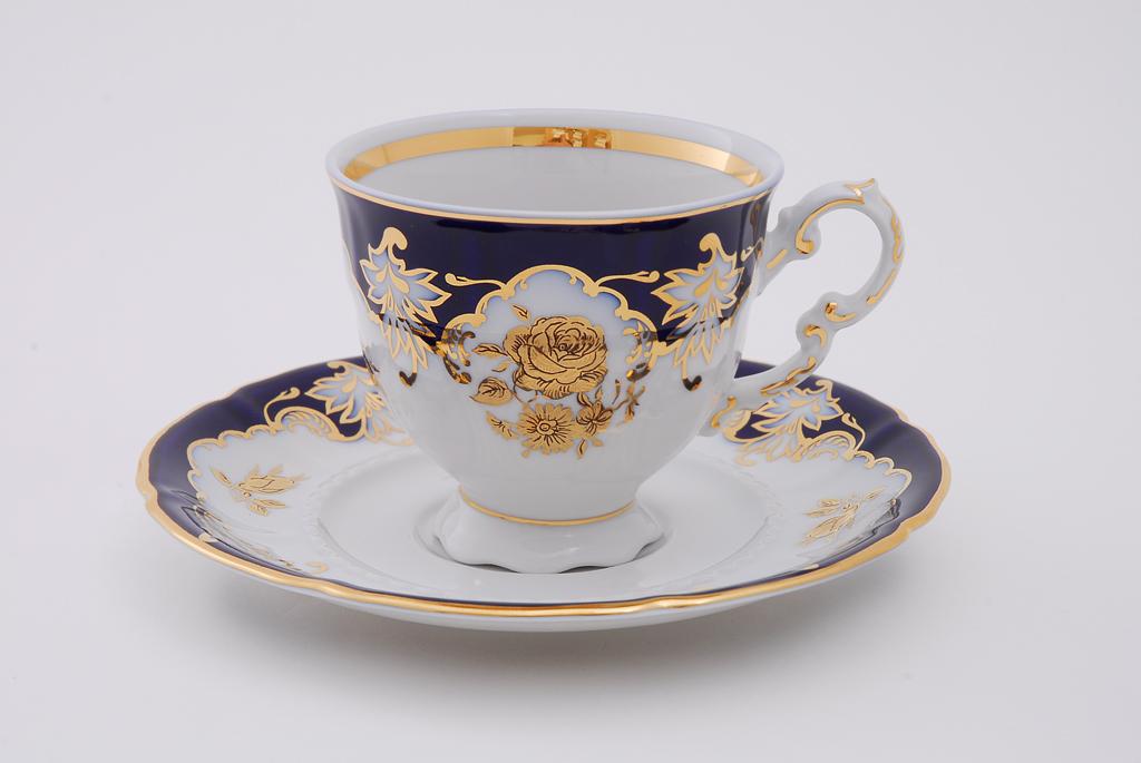 Фото Набор чашек кофейных с блюдцем 150 мл, 6 шт Форма Соната Виноград и золотая роза кобальт