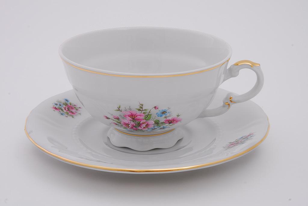 Фото Набор чашек низких с блюдцем 200 мл, 6 шт Форма Соната Полевые цветы