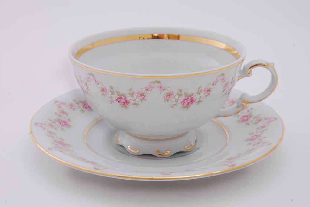 Фото Набор чашек низких с блюдцем 200 мл, 6 шт Форма Соната Розовый бордюр