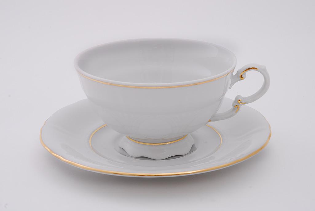 Фото Набор чашек низких с блюдцем 200 мл, 6 шт Форма Соната Золотой контур