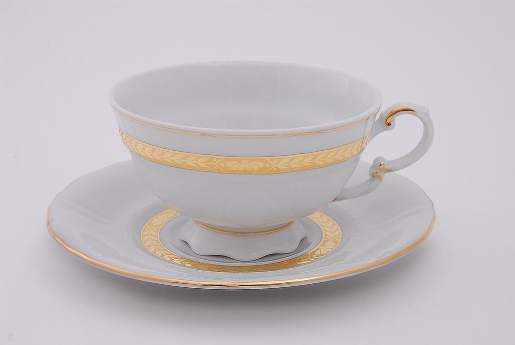 Фото Набор чашек низких с блюдцем 200 мл, 6 шт Форма Соната Белиссима золото