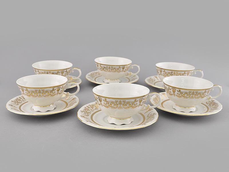 Фото Набор чашек низких с блюдцем 200 мл, 6 шт Форма Соната Королевский золотой