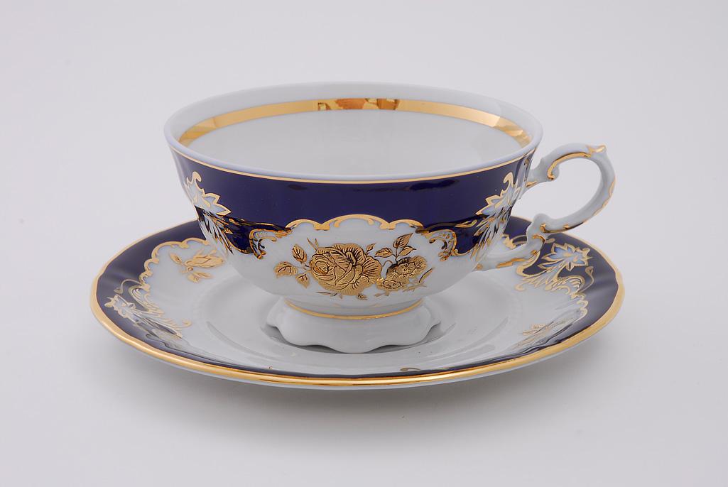 Фото Набор чашек низких с блюдцем 200 мл, 6 шт Форма Соната Виноград и золотая роза кобальт