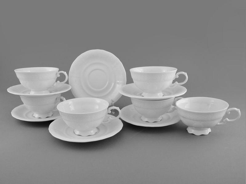 Фото Набор чашек низких с блюдцем 200 мл, 6 шт Форма Соната Белый орнамент