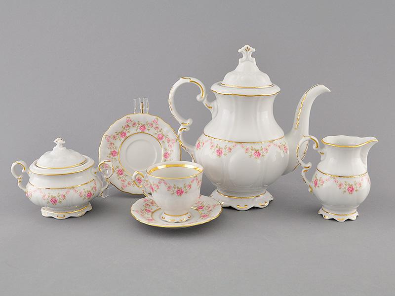 Фото Сервиз кофейный 15 предметов на 6 персон, чашки 100 мл, Форма Соната Розовый бордюр