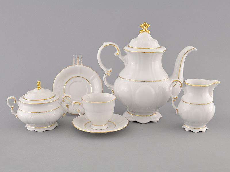 Фото Сервиз кофейный 15 предметов на 6 персон, чашки 100 мл, Форма Соната Золотой контур