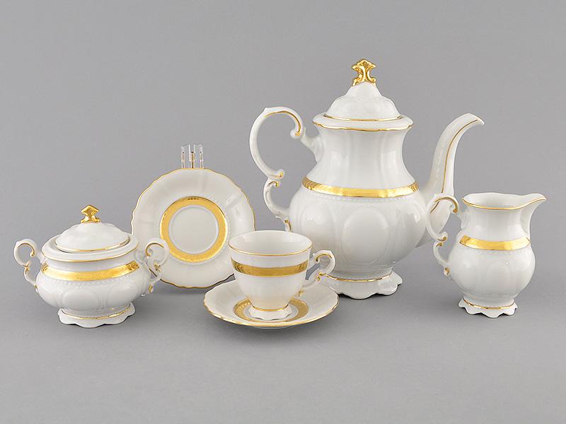 Фото Сервиз кофейный 15 предметов на 6 персон, чашки 100 мл, Форма Соната Белиссима золото
