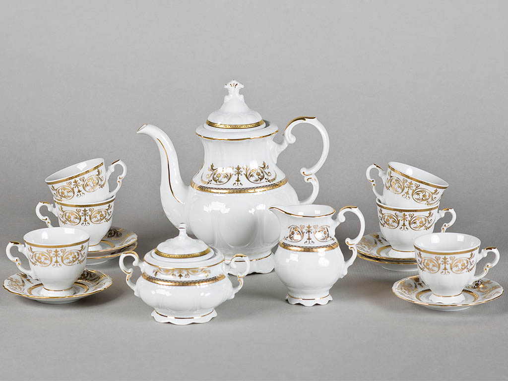 Фото Сервиз кофейный 15 предметов на 6 персон, чашки 100 мл, Форма Соната Королевский золотой