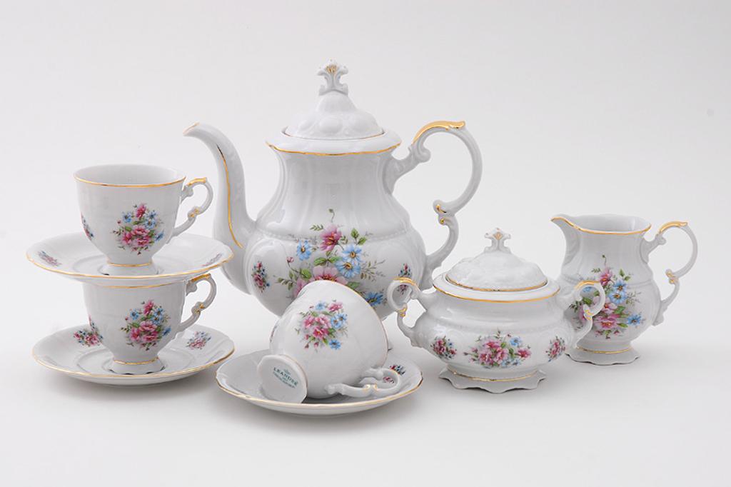 Фото Сервиз кофейный Леандер 15 предметов на 6 персон Форма Соната Полевые цветы