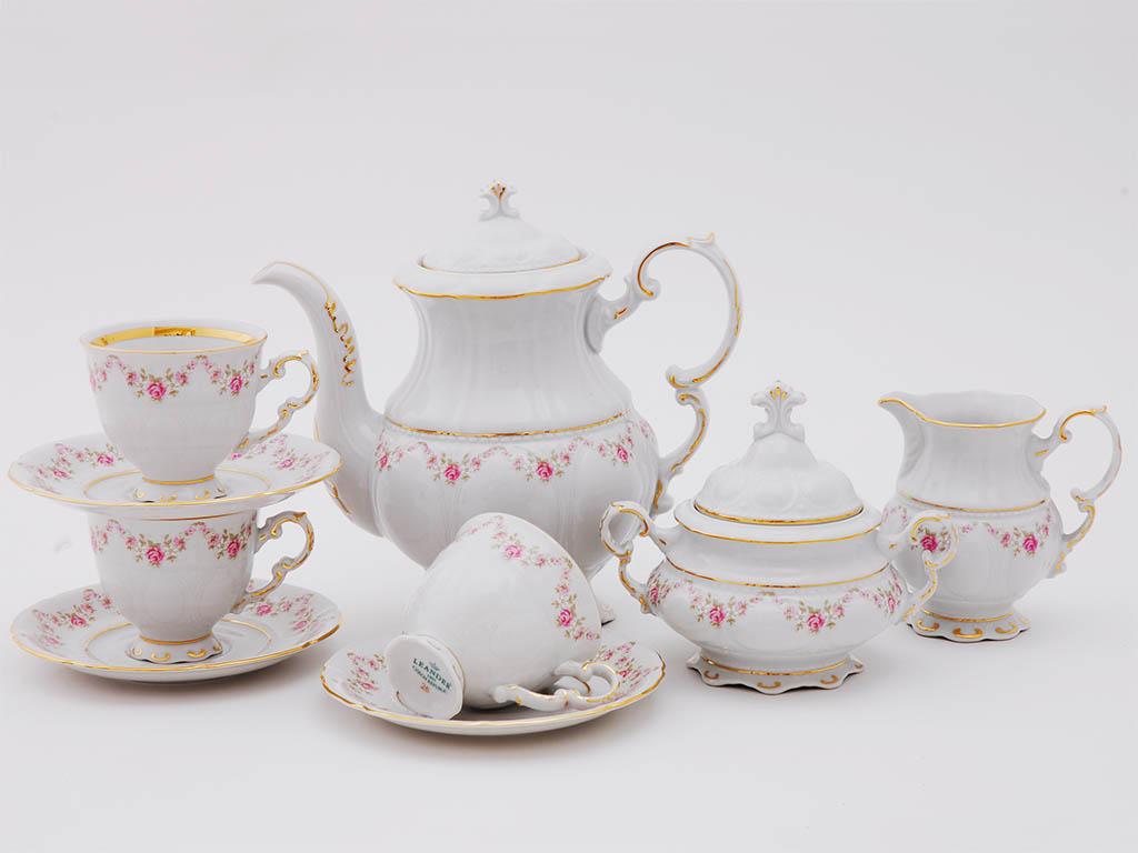 Фото Сервиз кофейный Леандер 15 предметов на 6 персон Форма Соната Розовый бордюр