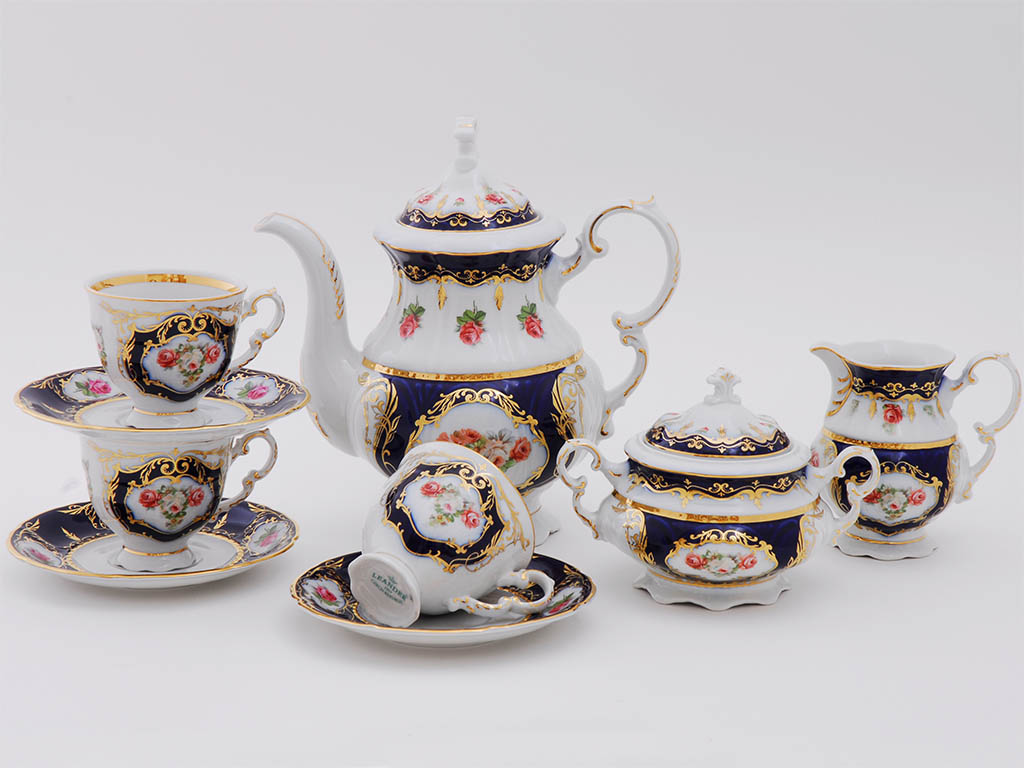 Фото Сервиз кофейный Леандер 15 предметов на 6 персон Форма Соната Помпадур кобальт