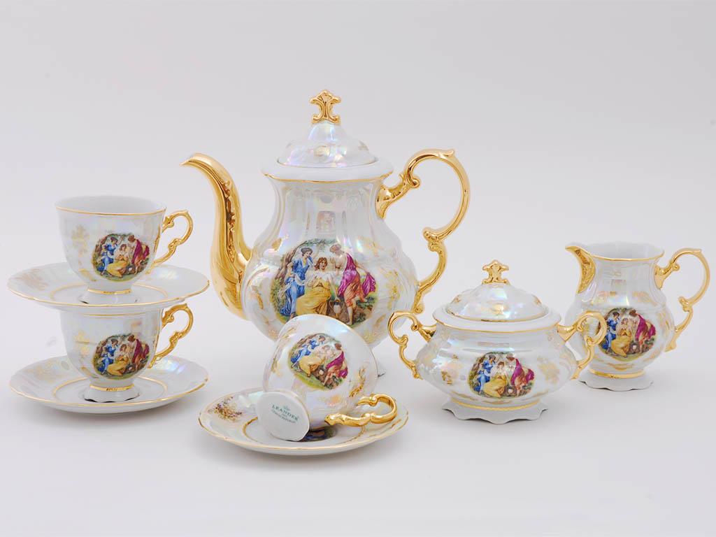 Фото Сервиз кофейный Леандер 15 предметов на 6 персон Форма Соната Мадонна перламутр