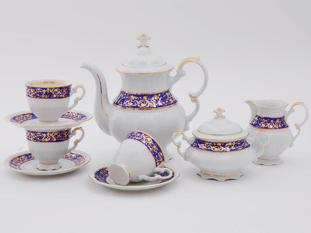 Фото Сервиз кофейный Леандер 15 предметов на 6 персон Форма Соната Классический кобальт