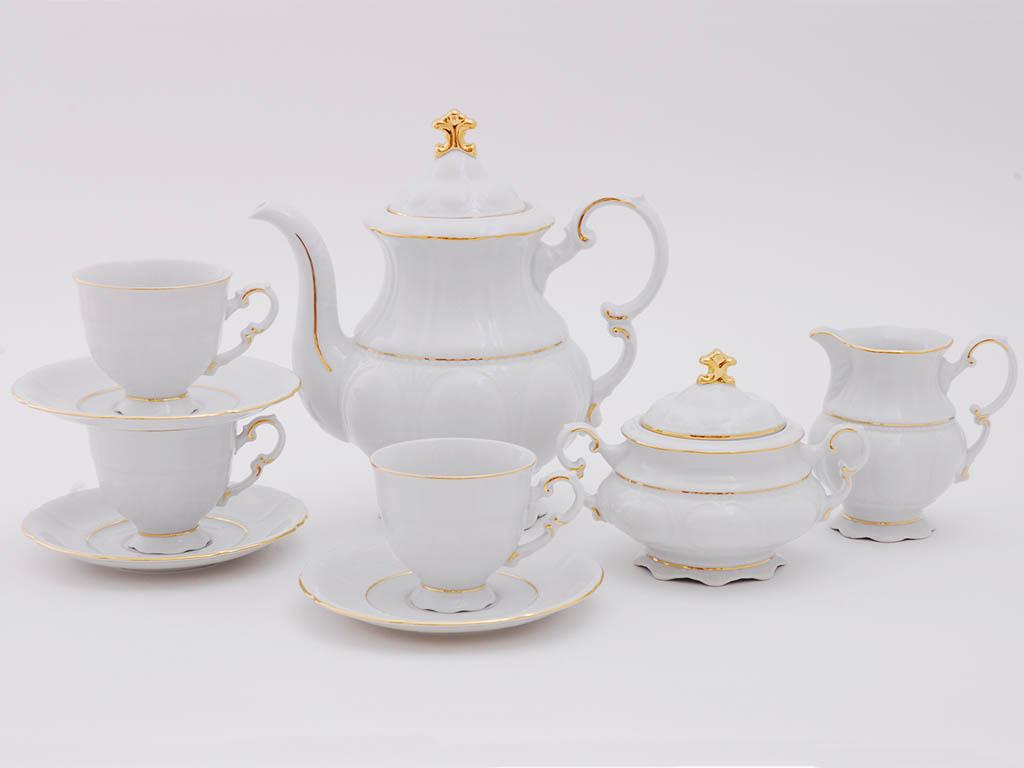 Фото Сервиз кофейный Леандер 15 предметов на 6 персон Форма Соната Золотой контур